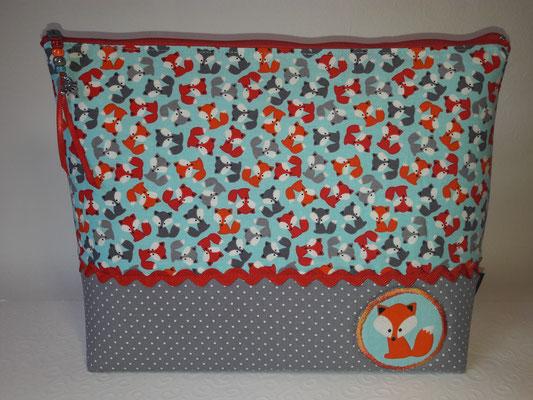 """""""Mini-Füchse rot-orange-grau"""" mit appliziertem Fuchs, auf der Rückseite sind die Füchse in der größeren Größe"""