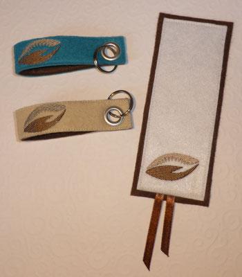 Schlüsselanhänger mit Öse, Lesezeichen, bestickt mit Logo vom Johannisthal