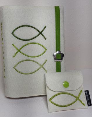 Stickmotiv Fischschwarm in grün auf Filz in wollweiß (Stickdatei von Rock-Queen), Gummi grün, Metalldeko V mit passendem Rosenkranztäschchen (Stickdatei von Taera-DIY)