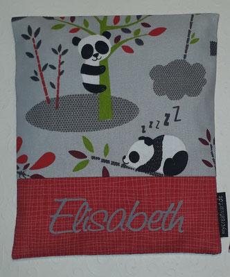 Pandas grau (gibts auch mit türkisem Hintergrund + pink), mit rotem Stoff hinter der Schrift, geplottet, nur noch wenig Stoff da.