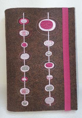 Stickmotiv Ovale in pink-rosa auf Filz in braun-meliert