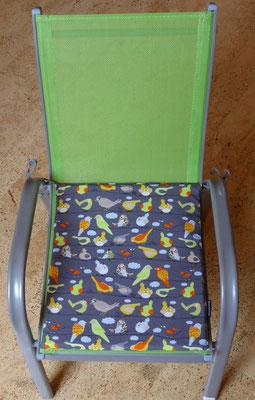 Stuhlkissen für Kinder-Gartenstuhl, Stoff nur noch mit türkisem Hintergrund (statt grau) vorrätig