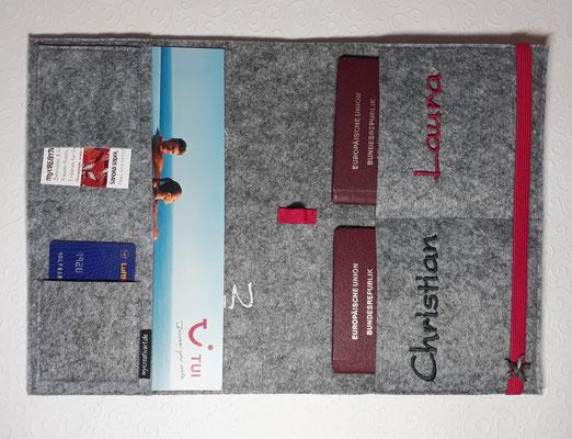 ... hier passt alles rein: Buchungsunterlagen, Reisepässe, Impfpässe, Kreditkarten, Stift (wie abgebildet 20€)