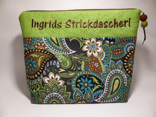 Tasche für Strickzeug mit individuellem Schriftzug... (Motivstoff vergriffen)