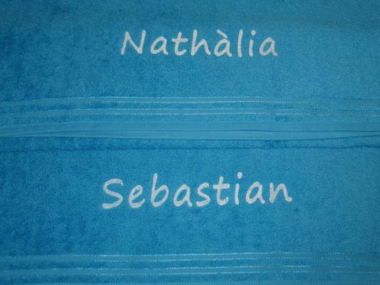 Handtücher für die neue Wohnung oder zur Hochzeit, Schriftart Segoe Print