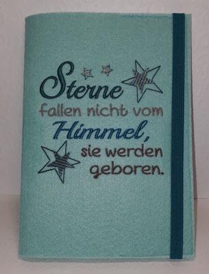 """Motiv """"Sterne fallen nicht"""" in petrol-taupe+Farbverlauf auf Filz in pastell-türkis, Gummi petrol (Stick-Datei Rock-Queen)"""