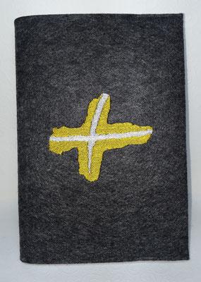 Bibeleinband für das Bischöfliche Jugendamt in Regensburg mit deren Logo.