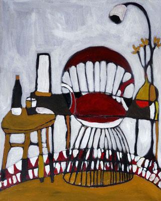 Intérieur au fauteuil rouge, 2017, acrylique sur toile, 40 x 50 cm.