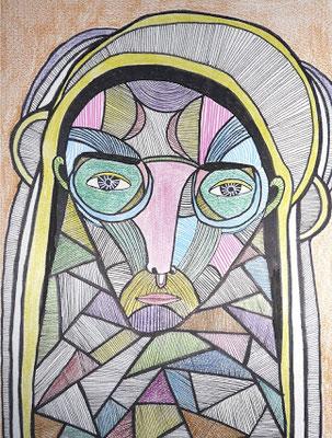 Ecorché IV, 2017, feutre et crayon de couleur sur papier, 21 x 29,7 cm