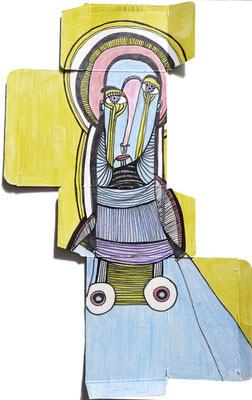 Ecorché VI, 2017, feutre et crayon de couleur sur emballage
