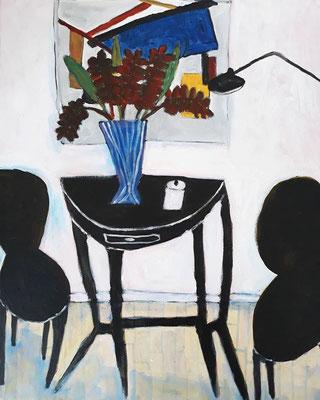 Les chaises noires, acrylique sur toile, 2019