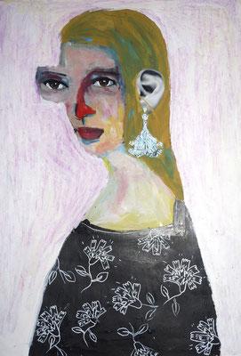 Pauline, 2017, acrylique et collage sur papier, 29,7 x 42 cm. VENDUE / SOLD