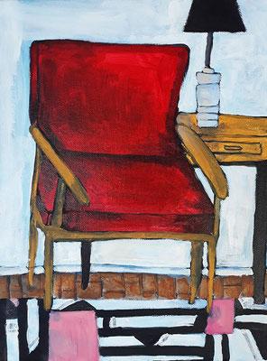 Le fauteuil rouge, acrylique sur toile, 2019