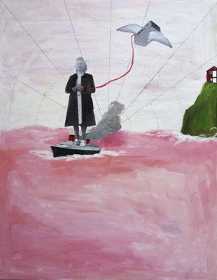 Le paquebot, 2017,  acrylique et collage sur toile, 50 x 61 cm.