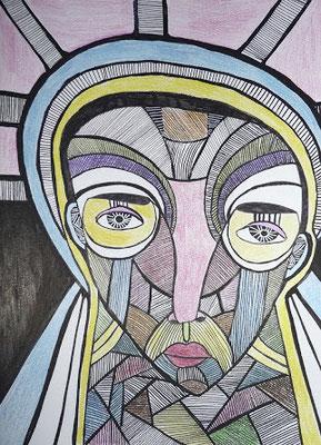 Ecorché II, 2017, feutre et crayon de couleur sur papier, 21 x 29,7 cm