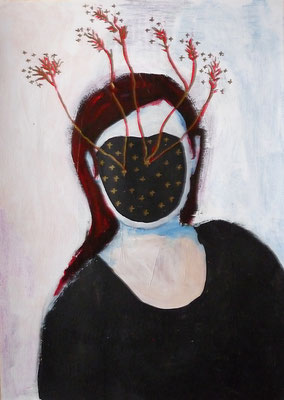 Sans visage III, 2016, technique mixte sur papier, 29,7 x 42 cm