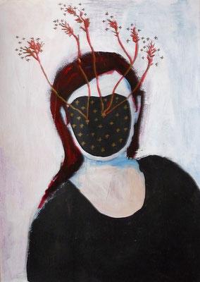 Sans visage III, 2016, acrylique et collage sur papier, 29,7 x 42 cm.
