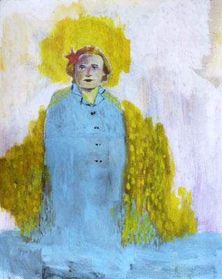 Berthe, 2014, acrylique et collage sur papier, 38 x 46 cm.