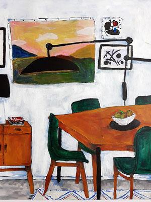 La salle à magner aux chaises vertes, acrylique sur papier, 2019