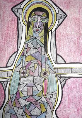 Ecorché V, 2017, feutre et crayon de couleur sur papier, 21 x 29,7 cm