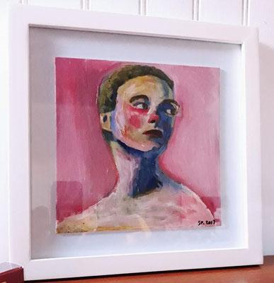 Adèle, 2017, acrylique et collage sur toile contrecollé, 20 x 20  cm, coll. particulière / SOLD