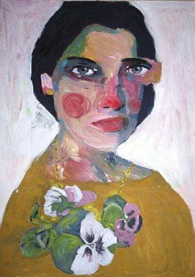 La belle au pull brodé, acrylique et collage sur papier, 29,7 x 42 cm, coll. particulière / SOLD