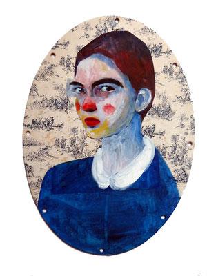 Portrait médaillon, 2018, acrylique et collage sur renfort de cadre toile de jouy, 30 x 42 cm.