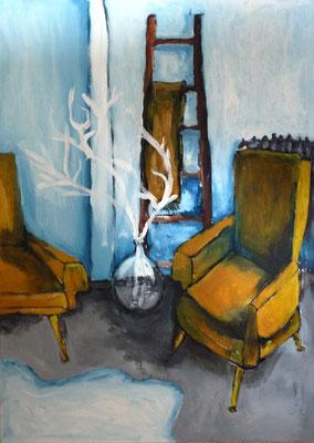 Les fauteuils safrans, 2016, acrylique sur carton entoilé, 46 x 33 cm, coll. particulière