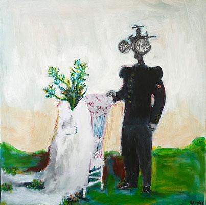 Le piou-piou sous pression, 2016, acrylique et collage sur toile, 30 x 30 cm.