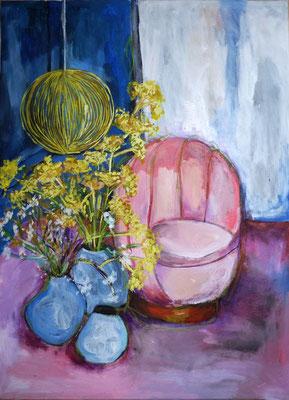 Salon bleu, 2016, acrylique sur toile, 54 x 72 cm ( peinture faite d'après une page intérieur du Elle Déco mai 2016 - Crédit Photo :Jérôme Galland)  - coll. particulière