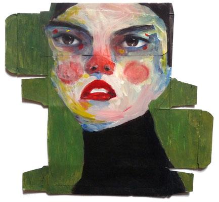 Catherine, 2017, acrylique et collage sur emballage, 20 x 20 cm.