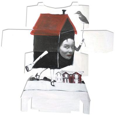 Sa maison sur le dos, 2017, acrylique et collage sur emballage.