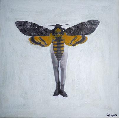 L'enfant papillon, 2017, acrylique et collage sur toile, 30 x 30 cm.