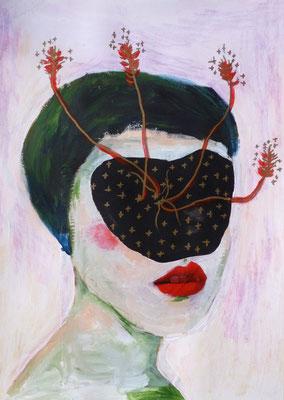 Sans visage I, 2016, acrylique et collage sur papier, 29,7 x 42 cm.