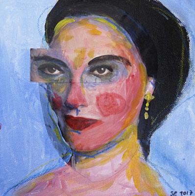 Maria, 2017, acrylique et collage sur toile contrecollé, 20 x 20  cm. VENDUE / SOLD