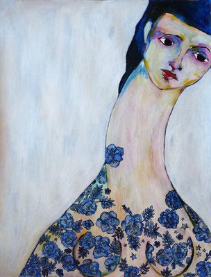 Femme toile de Jouy, 2015, acrylique sur papier marouflé sur toile, 50 x 65 cm.  VENDUE / SOLD