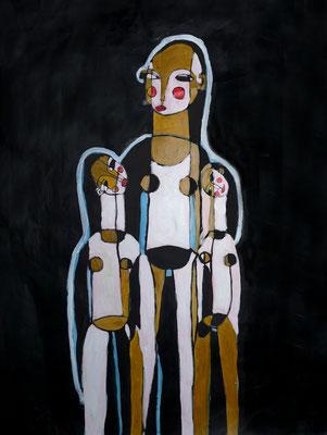 Les trois femmes, 2017, acrylique sur papier, 50 x 65 cm.