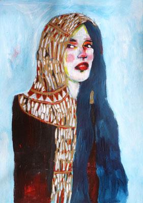 Le foulard doré, 2016, acrylique et collage sur papier, 29,7 x 42 cm.