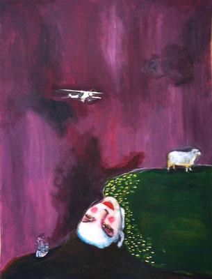 La jeune fille et le mouton, 2016, acrylique et collage sur papier, 50 x 65 cm.