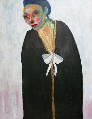 La robe noire au nœud blanc, 2017, acrylique et collage sur toile, 50 x 70  cm.