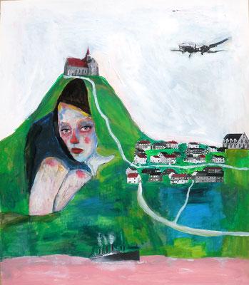 La fille sous la terre, 2018, acrylique et collage sur papier, 38 x 56 cm.