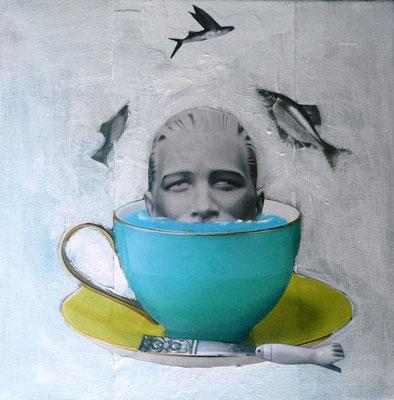Boire la tasse, 2018, acrylique et collage sur carton entoilé, 20 x 20 cm.