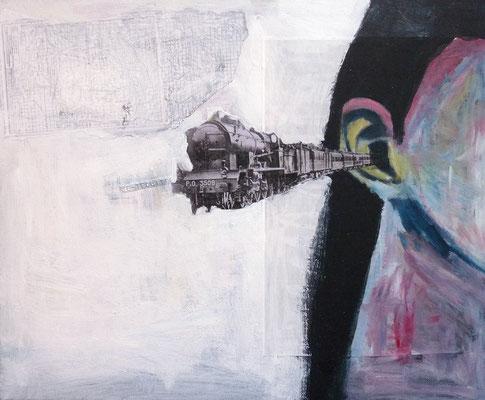 La locomotive, 2017, acrylique et collage sur toile, 46 x 38 cm.