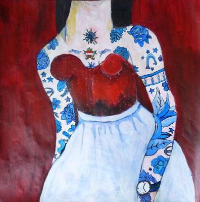 Femme aux bras tatoués, acrylique sur papier 50 x 50 cm.