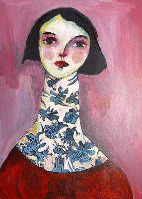 femme au cou tatoué,2016, acrylique sur toile - 50 x 70 cm.
