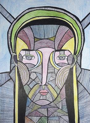 Ecorché III, 2017, feutre et crayon de couleur sur papier, 21 x 29,7 cm