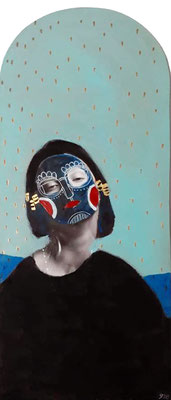 Le masque 2, 2019, acrylique, feutre et collage sur bois.