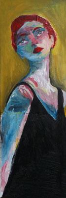 La cantatrice, 2017, acrylique et collage sur toile, 20 x 60 cm.