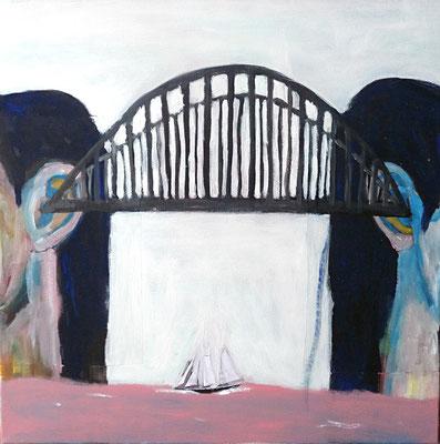 Le pont, 2018,  acrylique et collage sur toile.