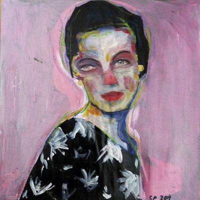 Lina, 2017, acrylique et collage sur toile contrecollé, 20 x 20  cm, coll. particulière / SOLD